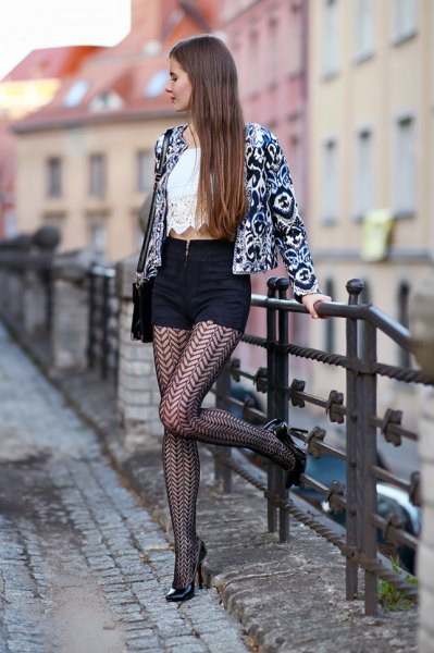 black patterned blazer with white lace and patterned tights