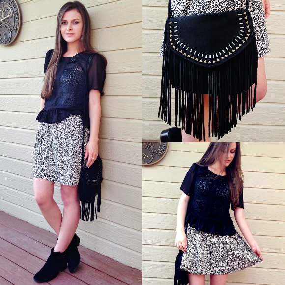 black peplum blouse with mini skirt with leopard print and black wallet with fringes