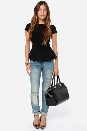 black peplum jeans outfit with cuffs