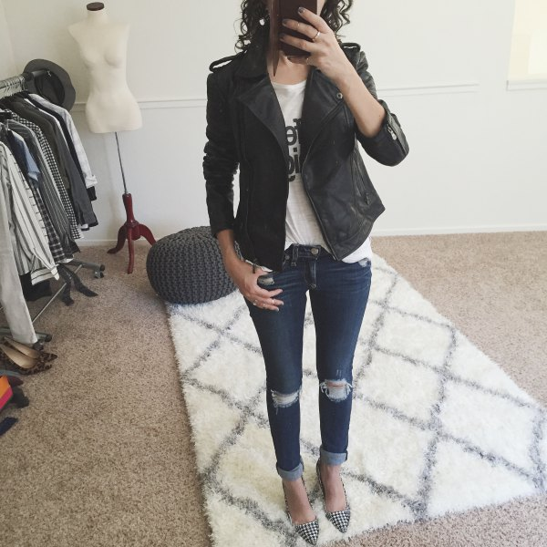 black petite matt leather jacket with white printed T-shirt and skinny jeans