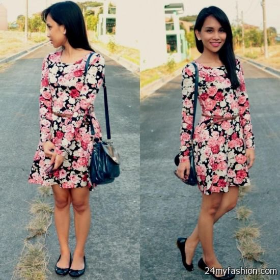 long-sleeved dress with black, pink and white rose