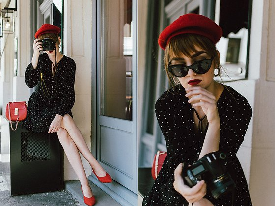 black polka dot fit and flare mini dress with red suede kitten heels with pointy toes