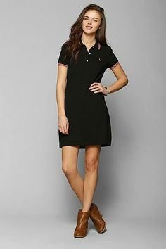 black polo dress brown ankle boots