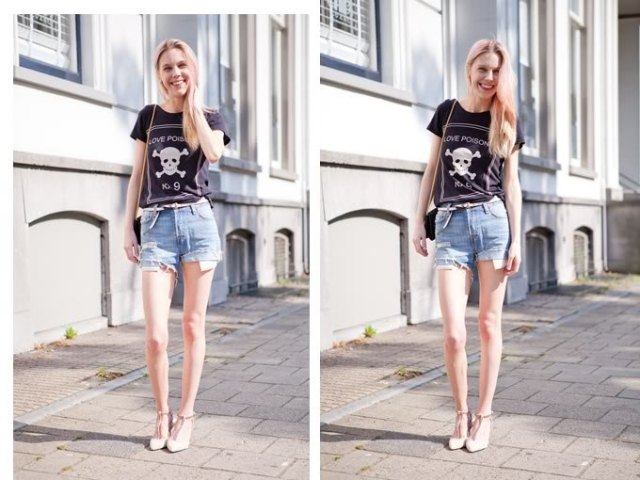 black printed T-shirt with light blue denim shorts
