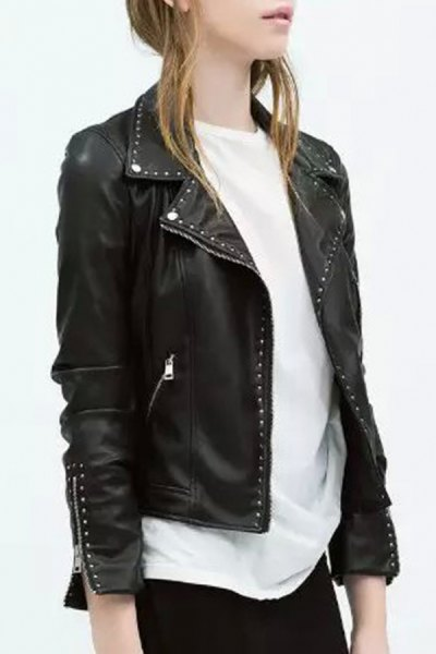 black punk leather rivet jacket with white, oversized t-shirt