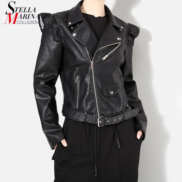 black punk puff shoulder leather jacket with wide leg pants