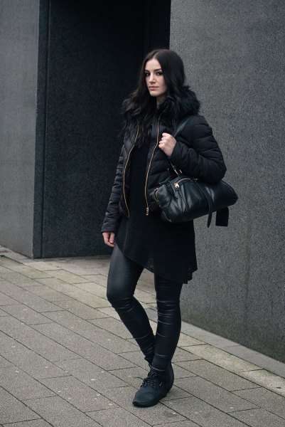 black quilted jacket with padded faux fur collar and leather gaiters