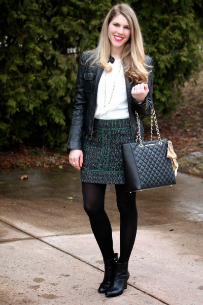 black quilted leather jacket boots