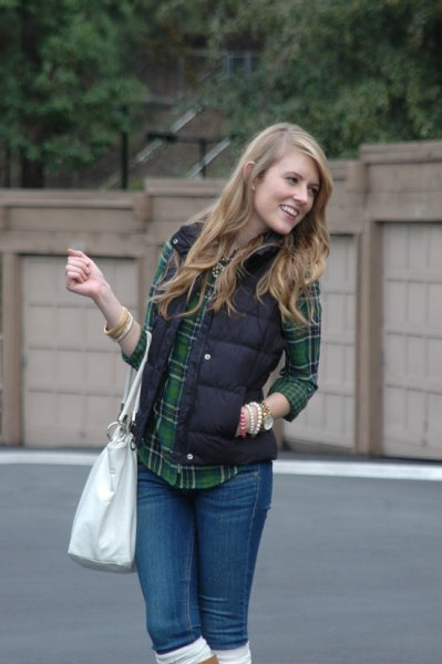 black quilted vest with gray and dark blue checked boyfriend shirt
