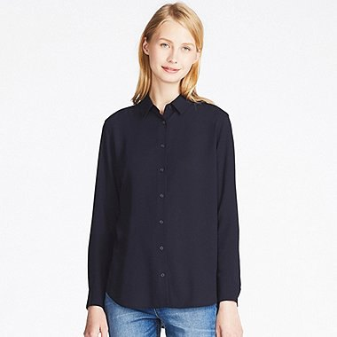 Blue Rayon Button Up Shirt Blue Jeans