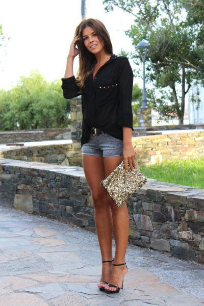 black chiffon shirt with relaxed fit and sequin clutch