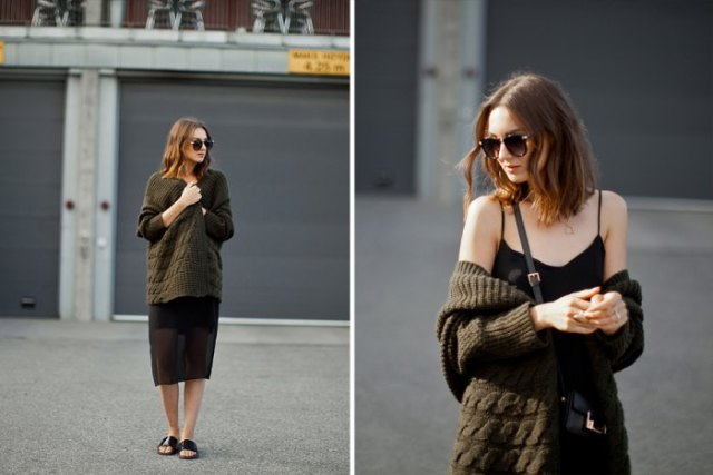 black, relaxed midi cami dress with oversized cardigan