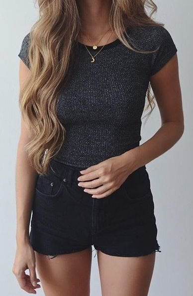 black ripped shorts gray ribbed, figure-hugging short-sleeved sweater