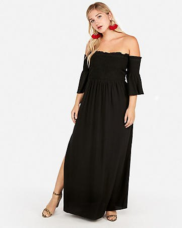 black ruffle sleeves from the strapless maxi side slit dress