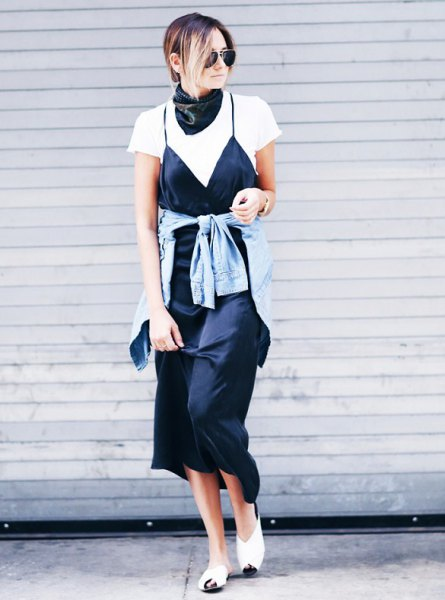 black satin scarf white t-shirt cami maxi dress