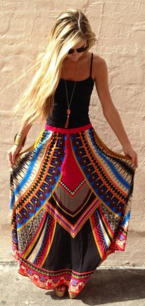 black tank top with scoop neckline and blue and red printed maxi gypsy skirt