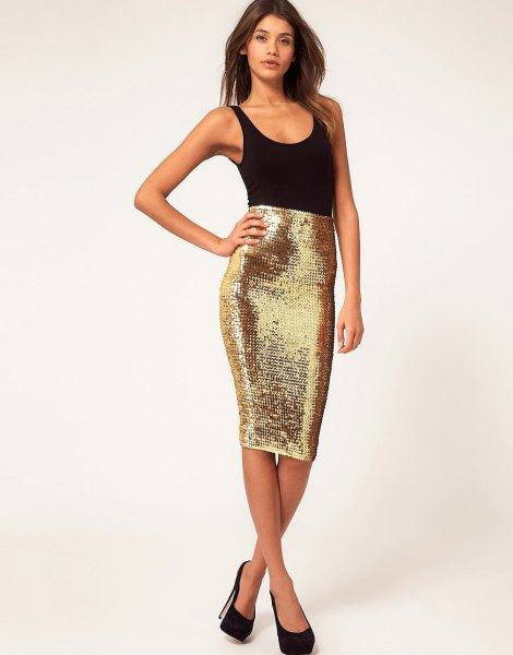 black tank top with scoop neckline and form-fitting sequined midi skirt