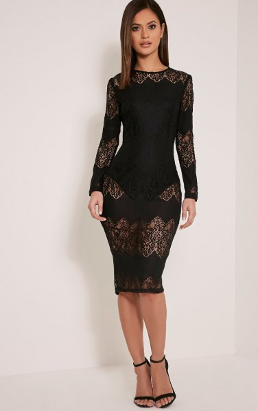 black, semi-transparent, figure-hugging lace dress