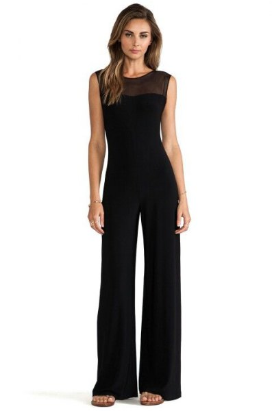 black, semi-transparent, sleeveless, formal jumpsuit with neckline