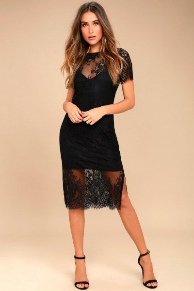 black, semi-transparent, two-layer, short-sleeved midi lace dress with open toe heels