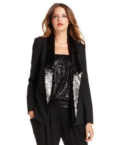 black sequined longline tuxedo with a shiny tube top