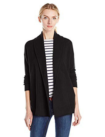 black scarf cardigan with striped t-shirt with round neckline