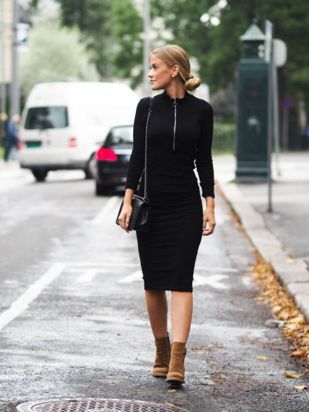 black shift dress with brown suede boots