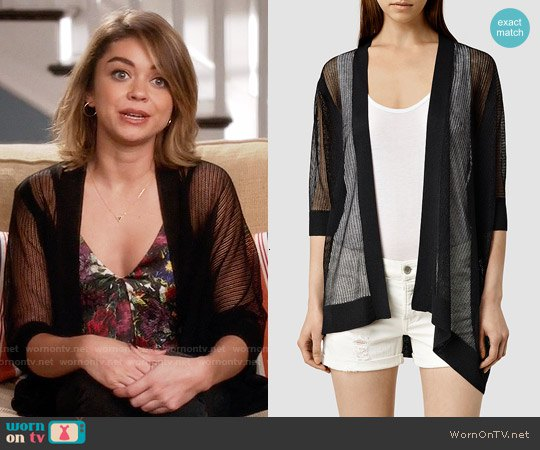 black transparent cardigan with deep, printed top with V-neck