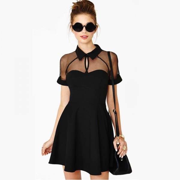 black skater dress with see-through collar