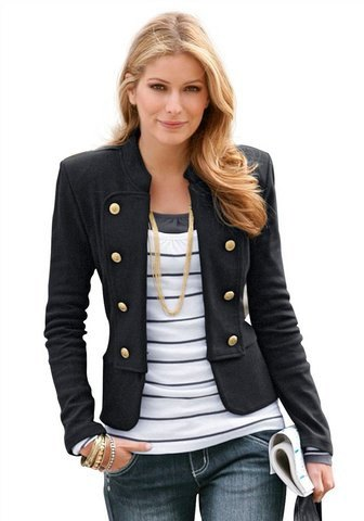 black short blazer with gray and white striped tess