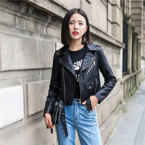 black short leather jacket with printed t-shirt and blue slim fit jeans