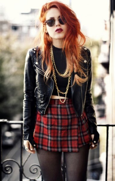 black short punk leather jacket with red checked mini skirt