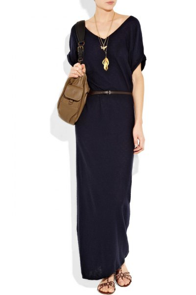 black short-sleeved shift dress made of cotton with maxi belt