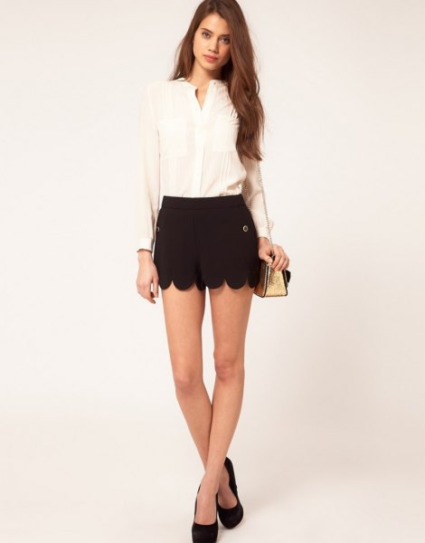 black shorts light yellow chiffon blouse