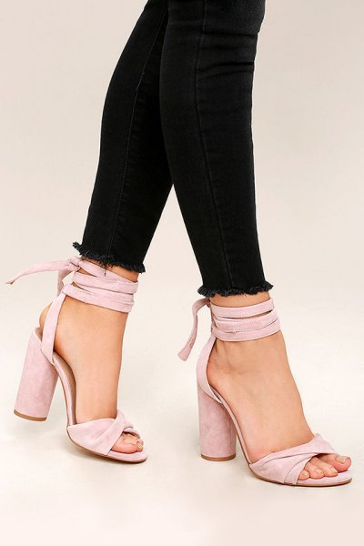 black skinny jeans with pink strappy high heels