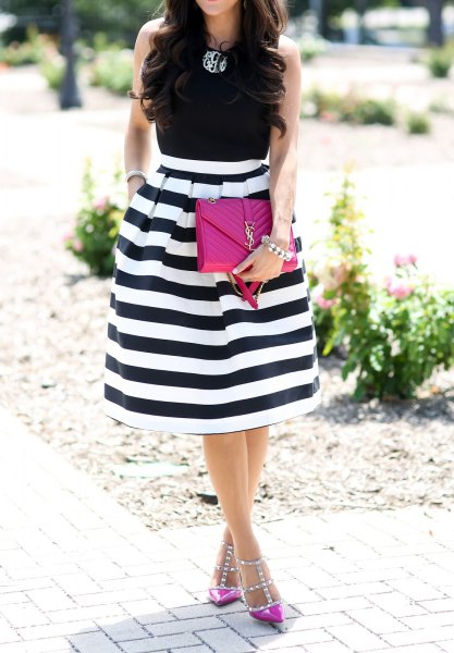 black sleeveless pink top heels