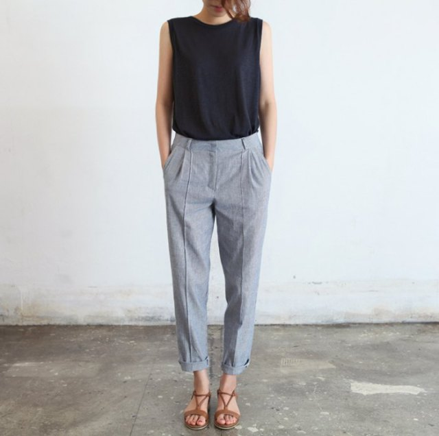 black sleeveless top with gray DIY ankle pants