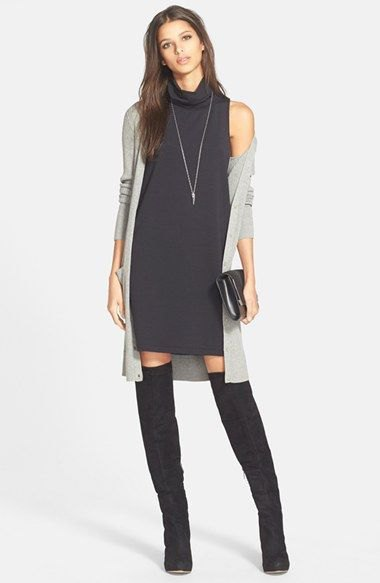 black sleeveless turtleneck gray cardigan