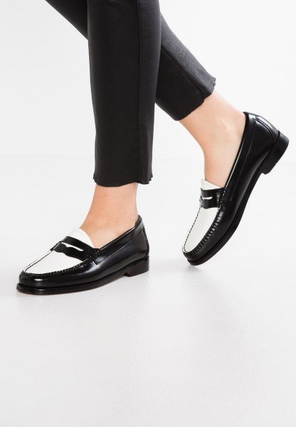 black slim fit short jeans and white slippers