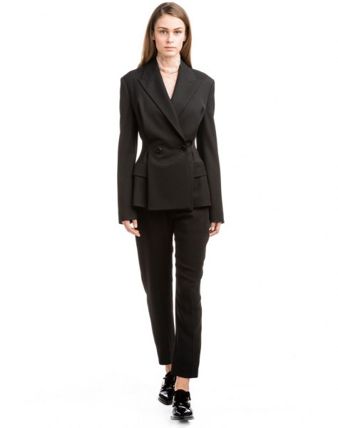 black slim fit double-breasted suit