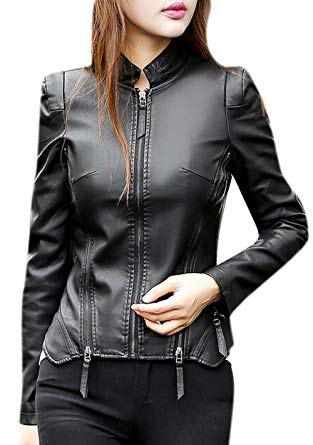 black slim fit punk leather jacket with matching skinny jeans