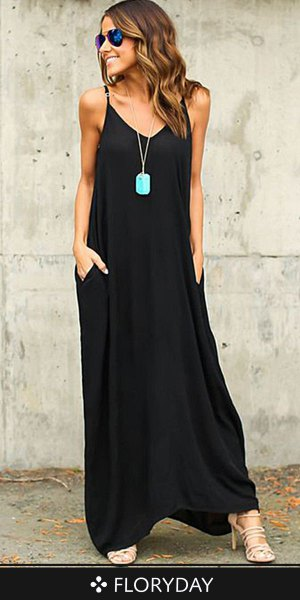 black cotton maxi dress with spaghetti strap