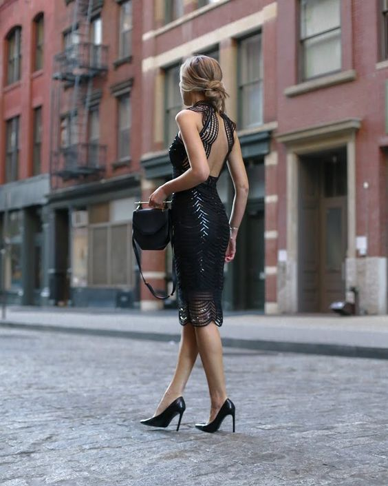 black sparkling dress with open back