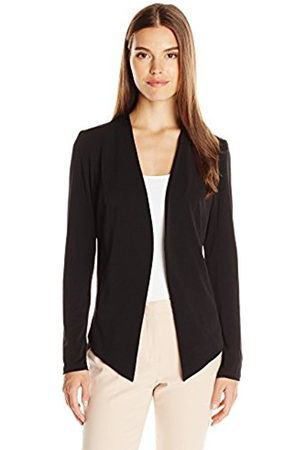 black sports blazer jacket with white top with scoop neckline and light pink pants