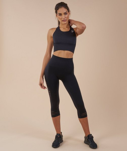 black sports bra top with shortened running pants