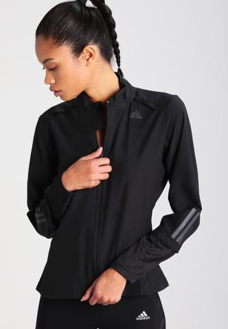 black sports coat with matching t-shirt and nylon running shorts