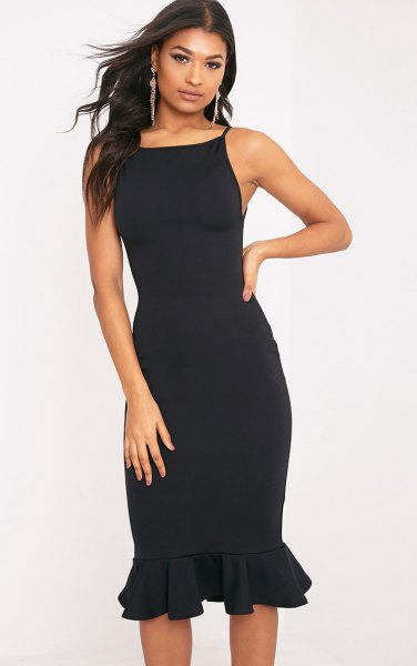 black midi dress with a square neckline and frilled hem