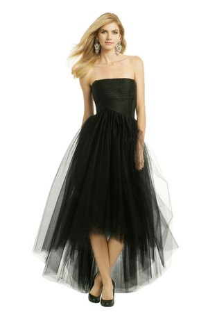 black strapless maxi high low tulle dress