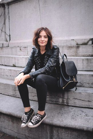 black leather jacket with riveted collar, skinny jeans and low top