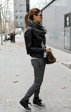 black leather sneakers scarf with rivets